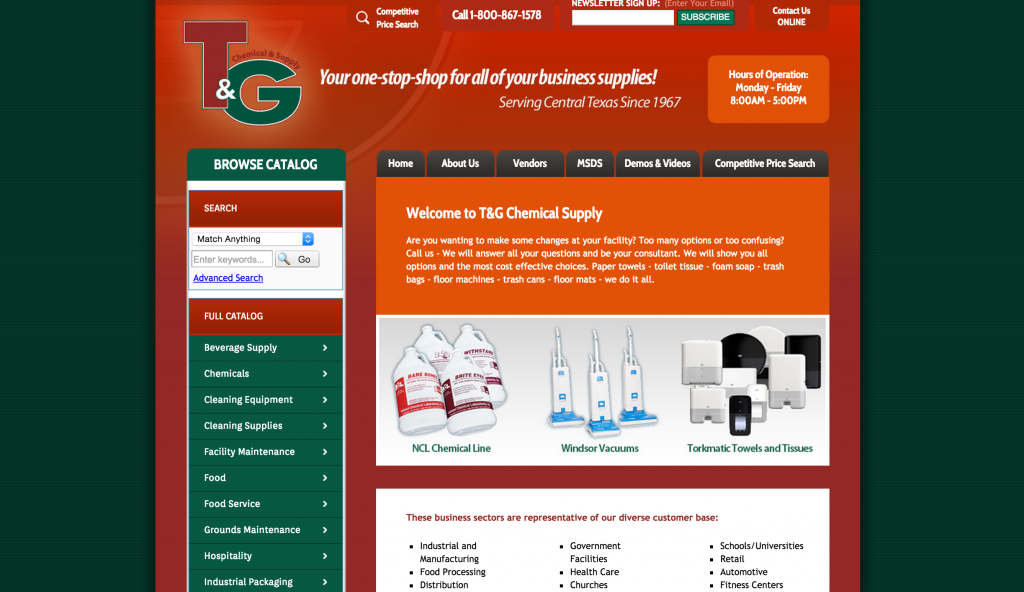 T&G website screen shot