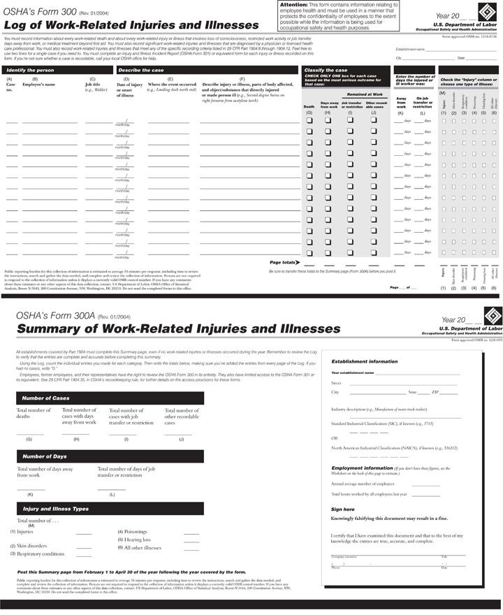 OSHA Reporting Form 300