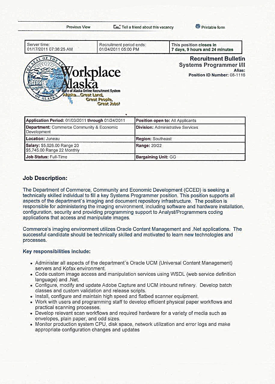A sample Job description from Workplace Alaska