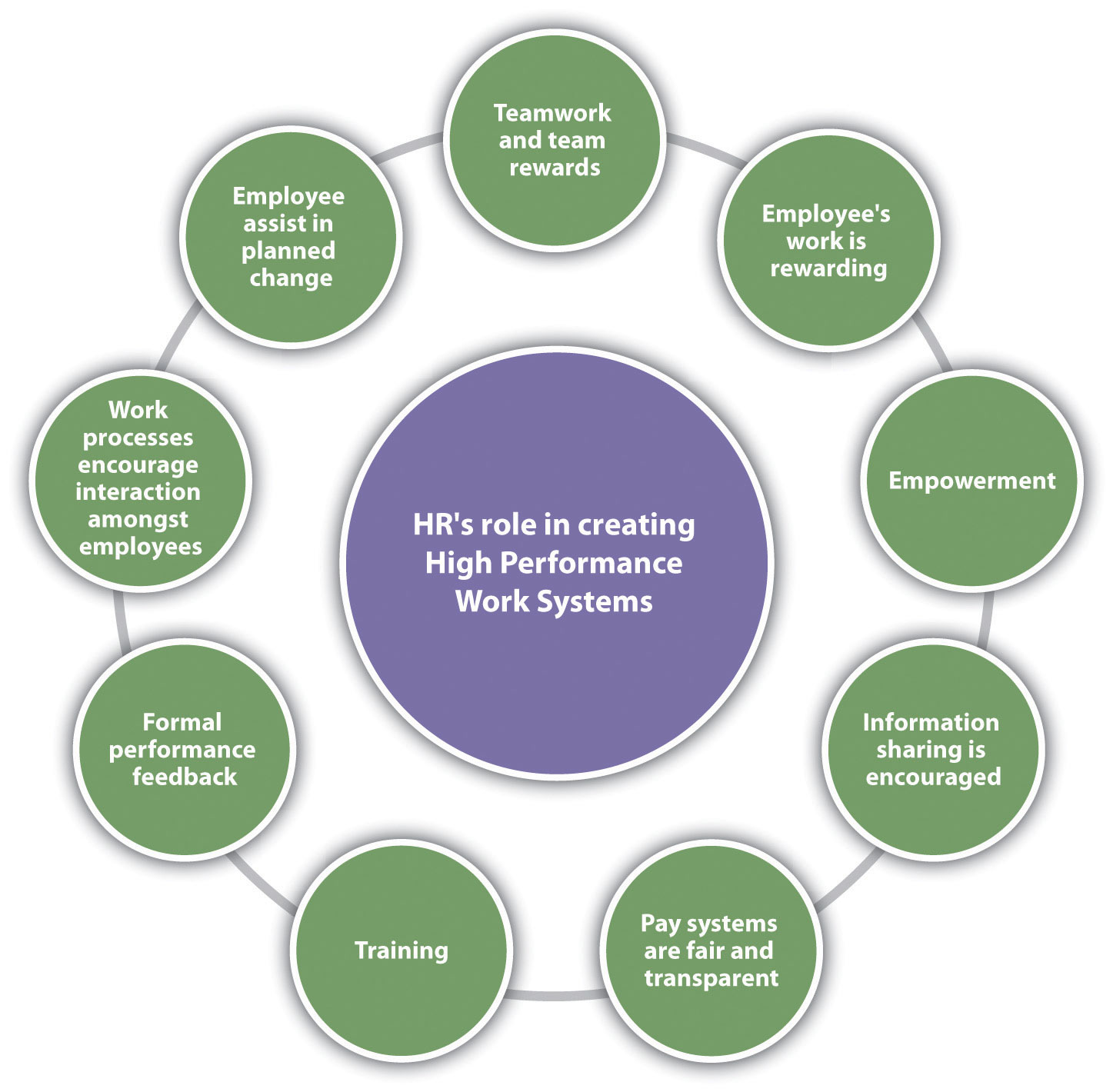 HR components of a HPWS (High Performance Work Systems): Teamwork and team rewards, employee's work is rewarding, empowerment, information sharing is encouraged, pay systems are fair and transparent, training, formal performance feedback, work processes encourage interaction amongst employees, and employee assist in planned change are just some examples.