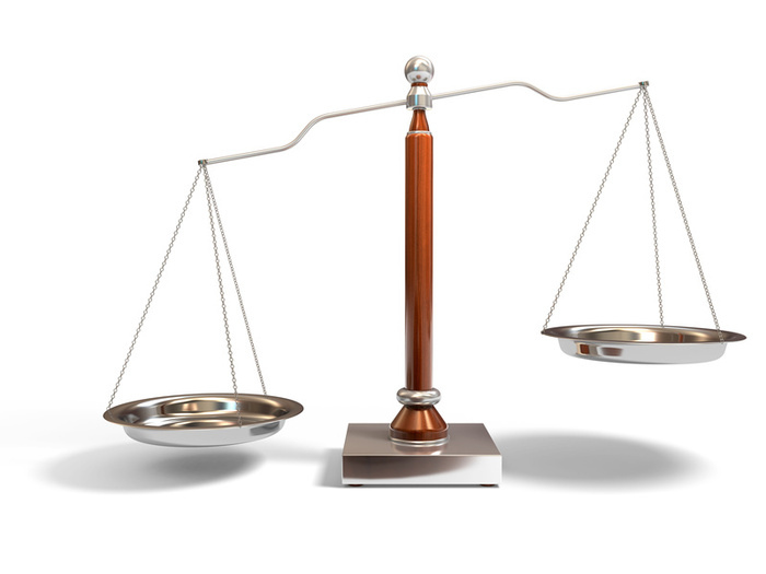 An uneven balance scale