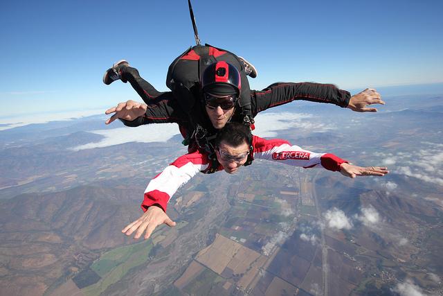 A man tandem skydiving