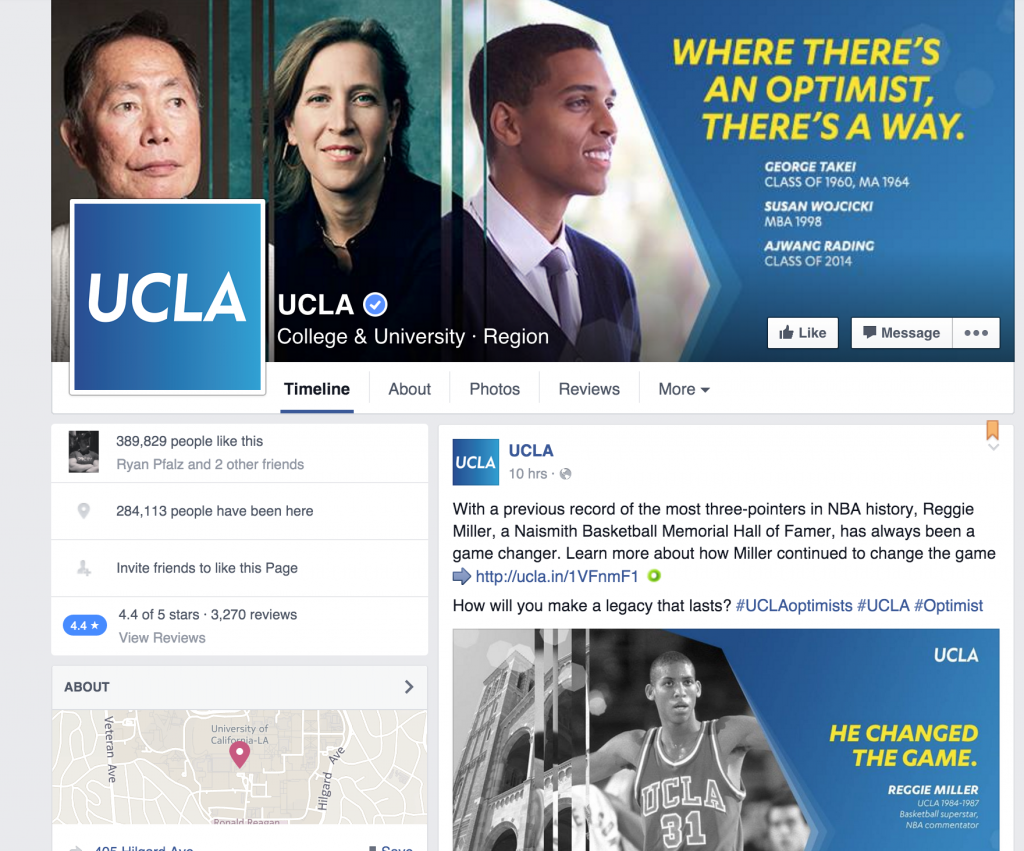 UCLA's Facebook page