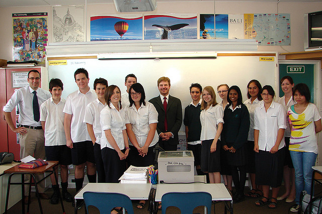Students in a History class with Ambassador Huebner