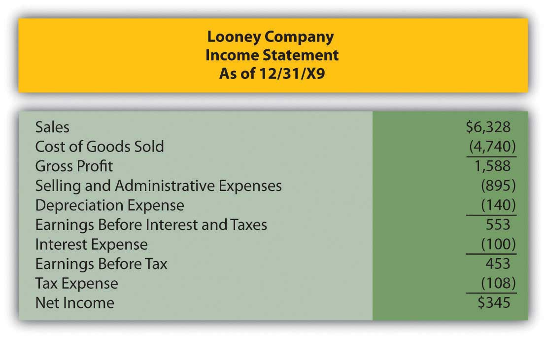 Looney Company income statement as of 12/31/X9